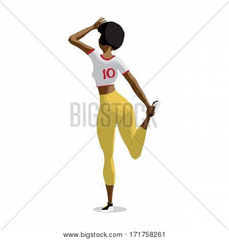 Afro woman doing gymnastic exercises. Girl in sportswear doing stretching leg. Back view. Flat cartoon isolated vector illustration