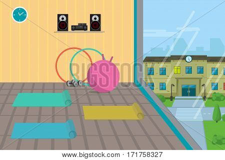Sport gym interior with window and fitness equipment. Flat cartoon vector illustration