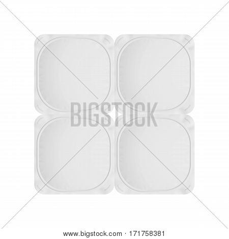 White foil lid for yogurt, cream, dessert or jam. Rounded square form. Pack of four. Realistic packaging mockup template. Top view. Vector illustration.