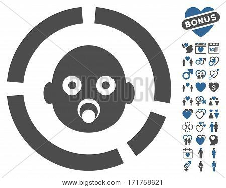 Newborn Diagram pictograph with bonus valentine images. Vector illustration style is flat iconic cobalt and gray symbols on white background.