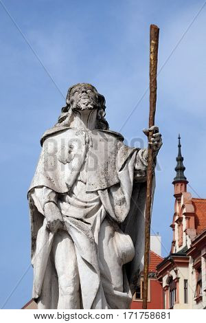 MARIBOR, SLOVENIA - APRIL 03: Saint Roch statue, Plague column at Main Square of the city of Maribor in Slovenia, Europe. Historical religious sculpture, April 03, 2016.