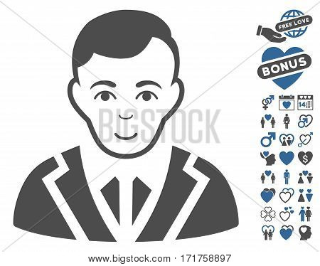 Noble icon with bonus romantic pictograms. Vector illustration style is flat iconic cobalt and gray symbols on white background.