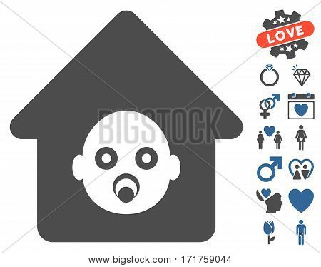 Nursery House pictograph with bonus love pictograph collection. Vector illustration style is flat iconic cobalt and gray symbols on white background.