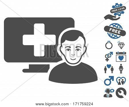 Online Medicine icon with bonus love images. Vector illustration style is flat iconic cobalt and gray symbols on white background.