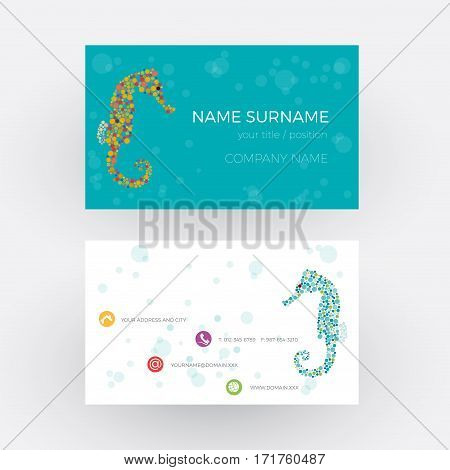 Vector Abstract seahorse. Business card in blue