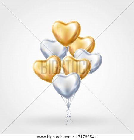 Heart Gold Silver balloon on background. Frosted party balloons event design. Balloons isolated air. Party decorations for wedding, birthday, celebration, love, valentines. Shine transparent balloon