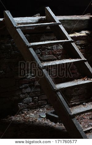 Wooden stairs in an old house attic space