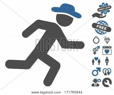 Running Gentleman icon with bonus amour symbols. Vector illustration style is flat iconic cobalt and gray symbols on white background.
