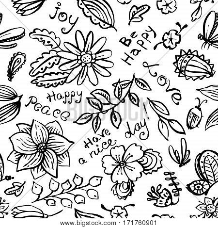 Vector floral seamless pattern with butterfly and dragonfly in doodle line art style. Hand drawn artistic ink illustration with insects and flowers. Design element for backgrounds and textile wrapping and backdrops