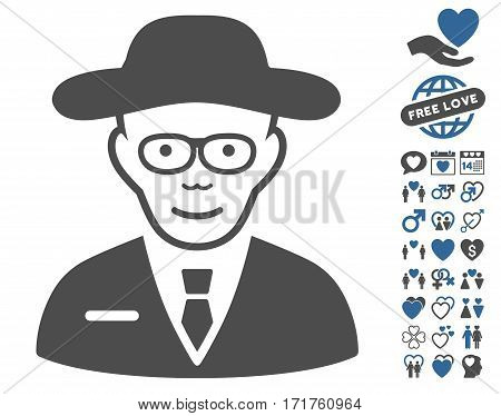 Scientist pictograph with bonus amour pictograms. Vector illustration style is flat iconic cobalt and gray symbols on white background.