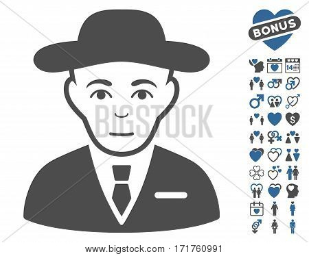 Secret Service Agent pictograph with bonus love pictograph collection. Vector illustration style is flat iconic cobalt and gray symbols on white background.