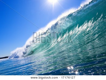 Big Blue Wave with Sun and Clear Sky, Epic Surf