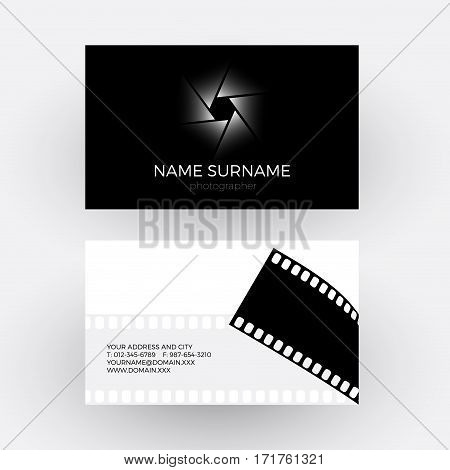 Vector diaphragm and camera roll concept of photographer. Business card