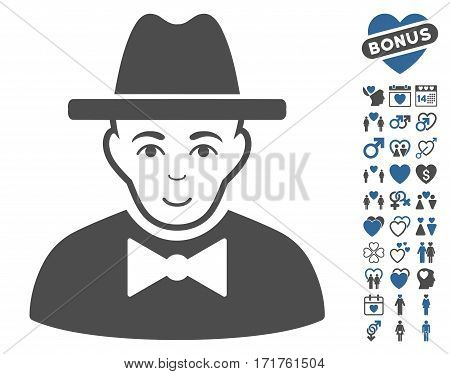 Spy pictograph with bonus love pictures. Vector illustration style is flat iconic cobalt and gray symbols on white background.