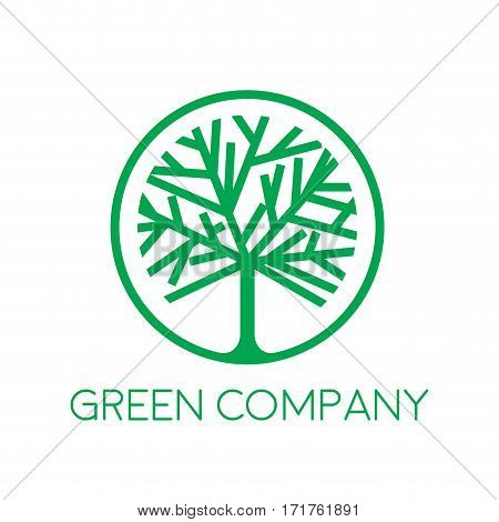 Sign green tree forestry companies, isolated illustration