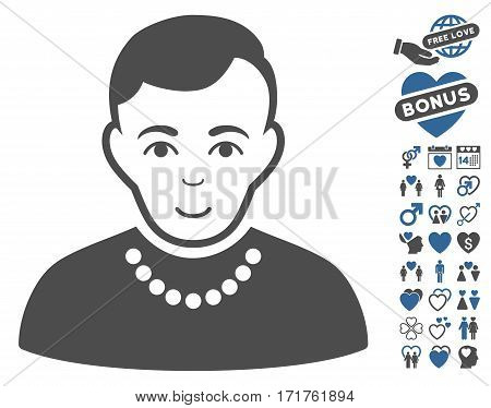 Trendy Guy icon with bonus amour pictures. Vector illustration style is flat iconic cobalt and gray symbols on white background.