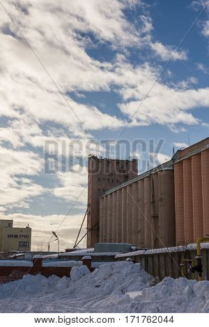 Grain and wheat silos in Russian winter harbor, sunny day, telephoto