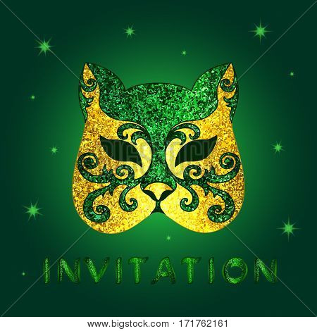 Invitation card with green glittery calligraphic inscription.  Concept design glittery golden mask in cat form with shining stars on a square green background - vector illustration.