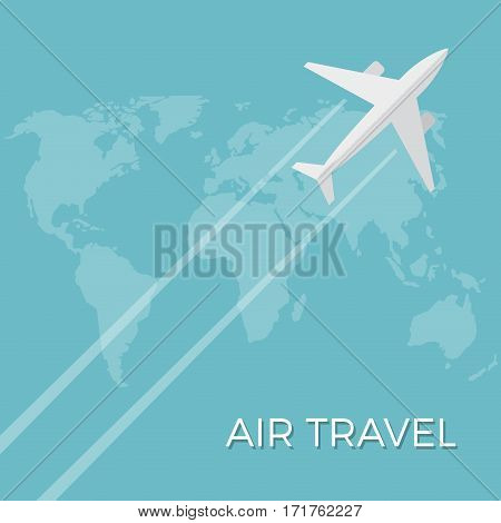 Vector air travel background. Airplane fly on the world