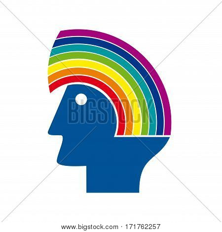 Vector sign head with rainbow. Environmental concept