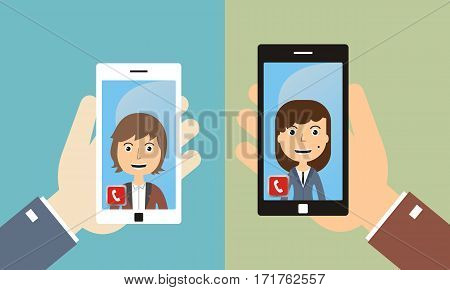 video conference with friends by smart phone