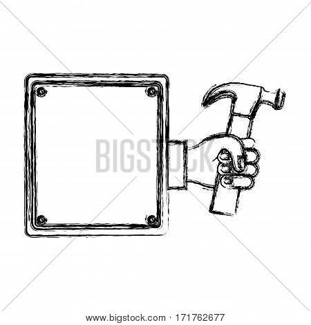 blurred silhouette plaque with hand holding hammer vector illustration