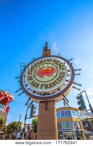 San Francisco, California, United States - August 14, 2016: vertical signboard of Fisherman's Wharf of San Francisco on Jefferson road. Fisherman's Wharf is a neighborhood and famous waterfront in SF.