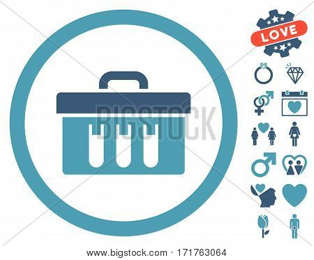 Analysis Box icon with bonus passion pictures. Vector illustration style is flat iconic cyan and blue symbols on white background.
