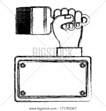 blurred silhouette plaque with hand holding paintbrush vector illustration