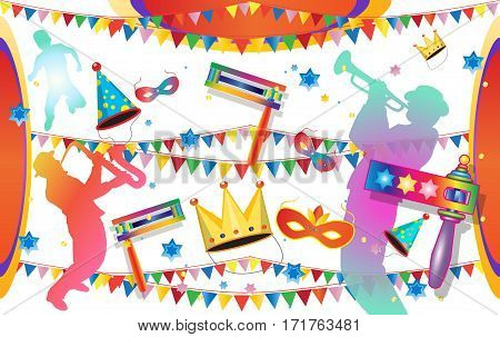 Happy Purim festival flyer. Purim Jewish Holiday Carnival decorative poster with traditional toy grogger noisemaker, kids, musicians, carnival mask, crown, festive confetti background.