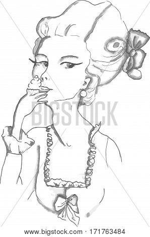 Vector image pattern with rococo girl wearing big hairstyle and eating cupcake. Adult coloring page with girl.
