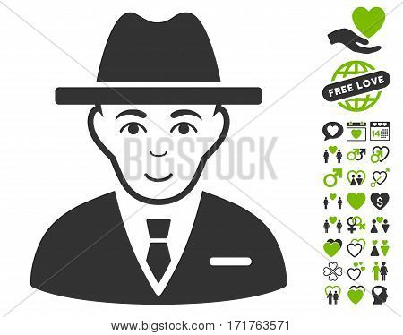 Agent pictograph with bonus marriage pictograph collection. Vector illustration style is flat iconic eco green and gray symbols on white background.