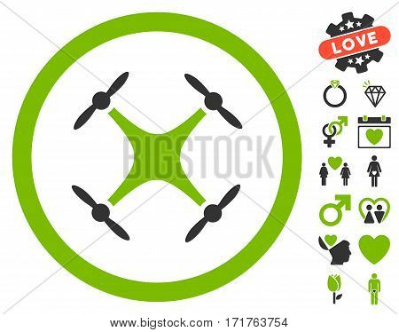 Airdrone pictograph with bonus amour symbols. Vector illustration style is flat iconic eco green and gray symbols on white background.