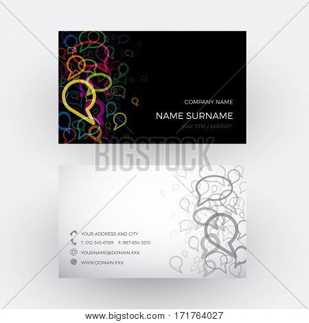 Vector Abstract clouds concept of talking. Business card