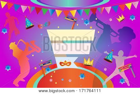 Happy Purim Carnival, Festival, Masquerade Music poster, invitation Holiday Kids party poster design. Purim Jewish Holiday illustration design with confetti, carnival mask, crown, musicians