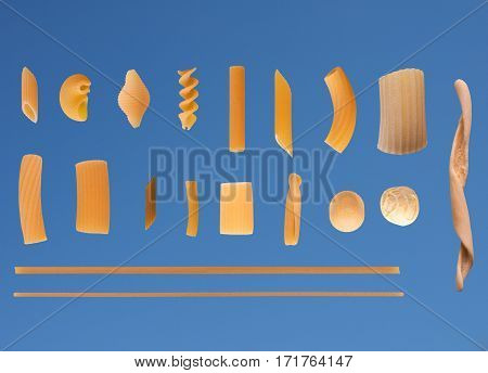 Traditional Italian Pasta, Blue Sky Background