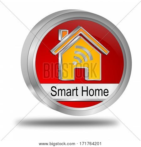 red Smart Home Button - 3D illustration