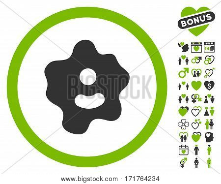 Ameba pictograph with bonus marriage clip art. Vector illustration style is flat iconic eco green and gray symbols on white background.