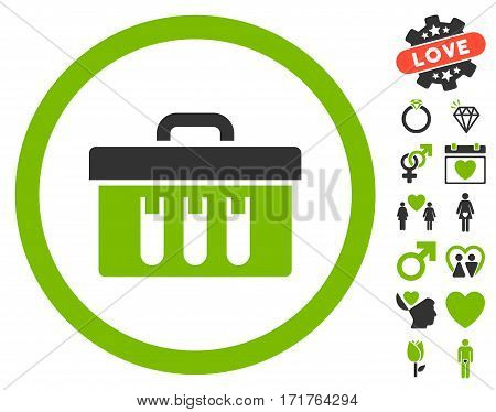 Analysis Box icon with bonus marriage graphic icons. Vector illustration style is flat iconic eco green and gray symbols on white background.