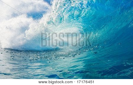 Big Blue Wave Breaks in Tropical Ocean, View into the Tue, a Surfers Perspective