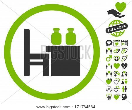 Apothecary Table icon with bonus passion icon set. Vector illustration style is flat iconic eco green and gray symbols on white background.