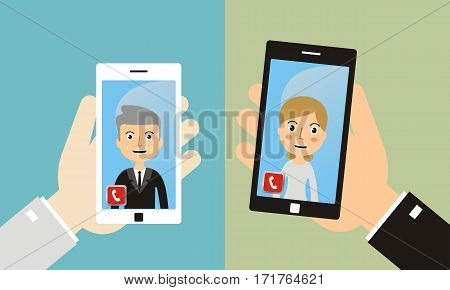 video call mobile meeting online video chat. Online conference smart phone icon. Man Having Video Chat with Woman.