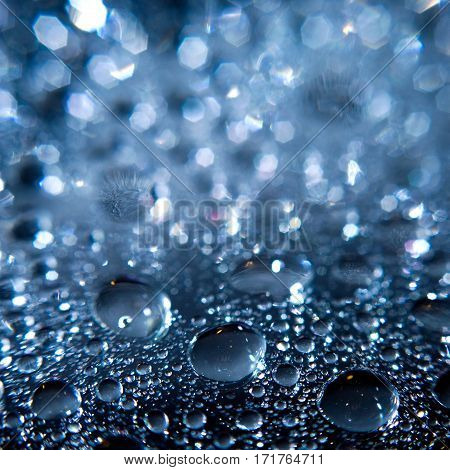 Water droplets on the glass surface. Macro