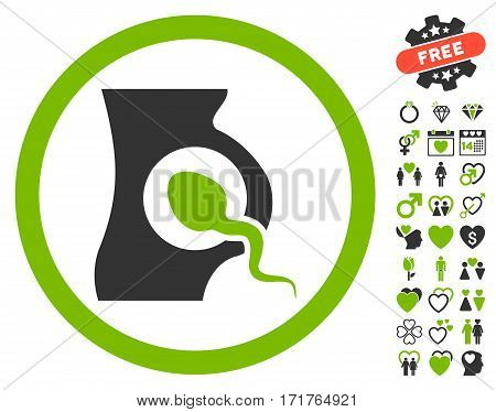 Artificial Insemination icon with bonus valentine clip art. Vector illustration style is flat iconic eco green and gray symbols on white background.