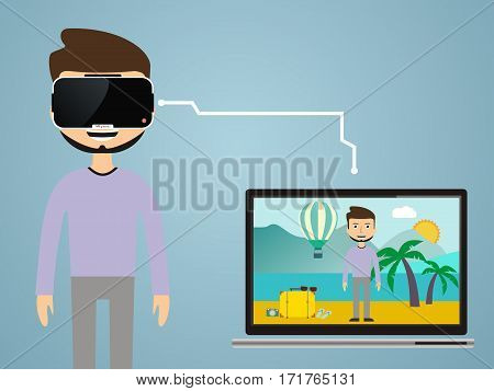 Virtual reality concept in flat style. VR gaming. Man wearing glasses augmented reality. VR travel.