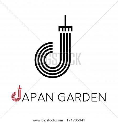 Vector sign letter J japanese garden, isolated illustration