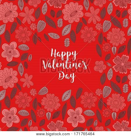 Happy Valentines Day Card With Flowers- Stock Vector