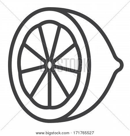 Lemon line icon, Citrus outline vector sign, linear pictogram isolated on white. logo illustration