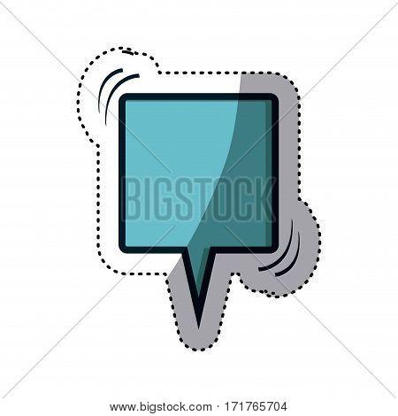 blue sticker square shape dialog box vector illustration