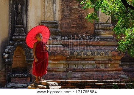 Portrait Of Buddhist Monk In Bagan, Myanmar